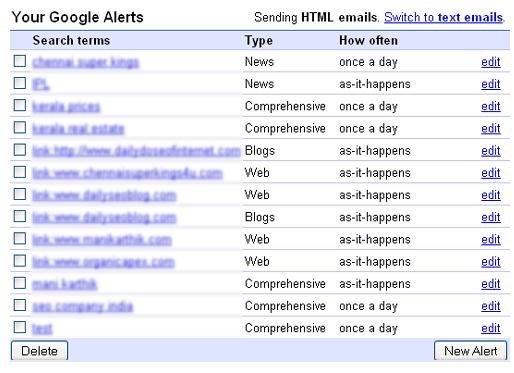 Google Alert Management