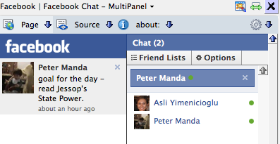 facebook chat in sidebar